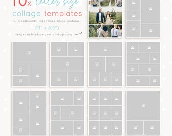 Collage template 20 pieces 8x10 inch portrait and landscape letter size collage templates 10 pieces 85 x 11 inch magazine pages storyboards saigontimesfo