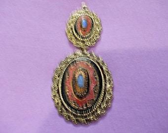 Vintage Sarah Coventry Ornate Old Vienna Black Red Blue Gold Necklace/Brooch Set