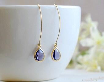 Amethyst Purple Drop Earrings, Gold Plated Amethyst Teardrop Long dangle Earrings, Bridal Jewelry, Bridesmaid Gift, Wedding Bridal Accessory