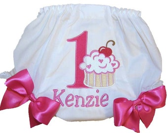 Personalized Birthday Baby Girl Diaper Cover Bloomers Yummy Cupcake Birthday Double Bows