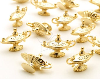 PD-2388-MG / 2 Pcs - Magic Lamp Charms, Aladdins Lamp Charms, Genie Charm, Matte Gold Plated over Brass / 18mm x 13mm