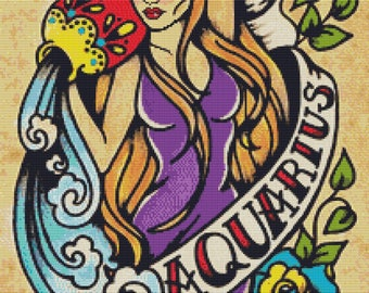Cross Stitch Kit, Zodiac Cross Stitch, Illustrated Ink Art, Aquarius Sign, Tattoo Cross Stitch Kit, Illustrated Ink, Zodiac Tattoo,