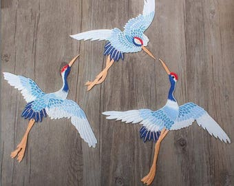 Embroidery Red crowned crane Iron on Appliques,Mirror Birds Patches,Birds Applique,Birds Iron on Patches,Floral Patches,Embroidery Patches