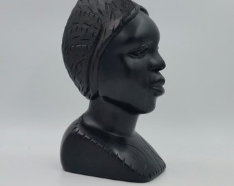 Vintage African Carved Bust Sculpture Mid Century Modern Tribal Art