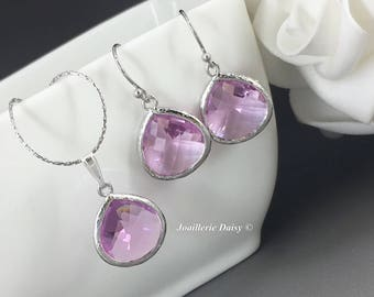 Bridesmaid Gift Lavender Bridesmaid Jewelry Silver Necklace Set Purple Jewelry Maid of Honor Mother of Groom Gift Mother of Bride Jewelry