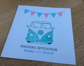 Camper van bunting wedding invitation