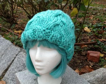 Turquoise Chunky Cabled Slouchy Beanie