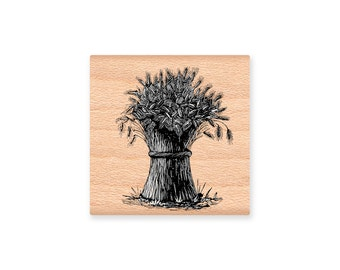 Harvest Wheat Bale~Rubber Stamp~Bountiful~Thanksgiving Stamp~DIY Fall and Autumn Seasonal Holiday Crafting~Wood Mounted Stamp (25-29)