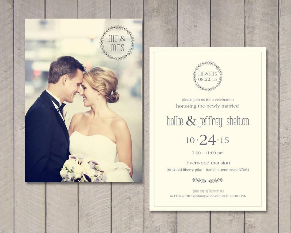 Modern Wedding Invitation Wording: Modern Wedding Reception Invitation Printable By Vintage