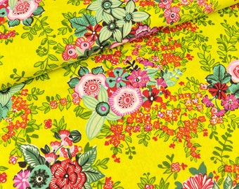 Cotton fabric Lars Colorful flowers on lime (9.90 EUR/meter)