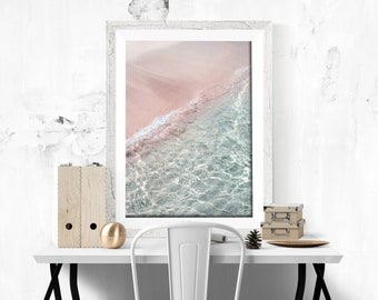 Pink Beach Print Beach Photography Pink Sand Printable Crystal Clear Water Print Water Photography Download Pink Wall Decor Modern Decor