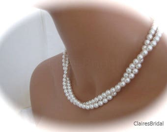 Multi Strand Pearl Necklace Earring Set Bridal Jewelry Set Pearl and Silver Earrings