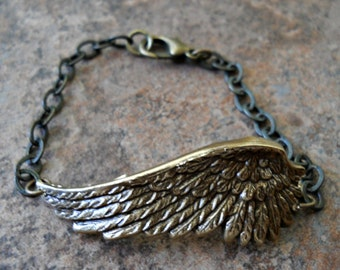Fallen Angel Brass Wing Bracelet