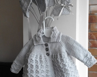 Hand-knitted, Traditional/Vintage Style, Baby Girls Matinee/Pram Set