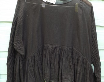 RITANOTIARA OSFA pure cotton black gauze Romy Prairie tiered gypsy romantic top tunic long sleeves quirky funky lagenlook layering gypsy