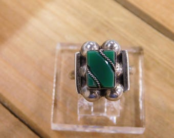 Sterling Silver Malachite Ring Size 8.5