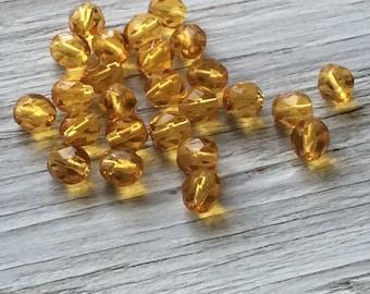 Faceted round beads, Czech glass beads, fire polish beads golden amber 6mm  25