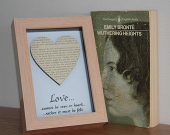 Upcycled Vintage 1960s Wuthering Heights Emily Bronte Box frame art, with a hand stamped, embossed Love quote beneath.