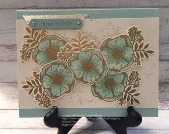 Birthday Card, Handmade Card, Happy Birthday Card, Flowers, Blue, Gold Embossed, Stampin' Up! Amazing You
