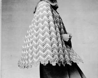 Vintage Ripple Crochet Swing Cape - PDF