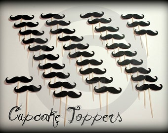 35 Mustache Cupcake Toppers- The Handlebar- Mustache on a Stick- Little Man Party- Mustache Party- cupcake toppers- Little Man