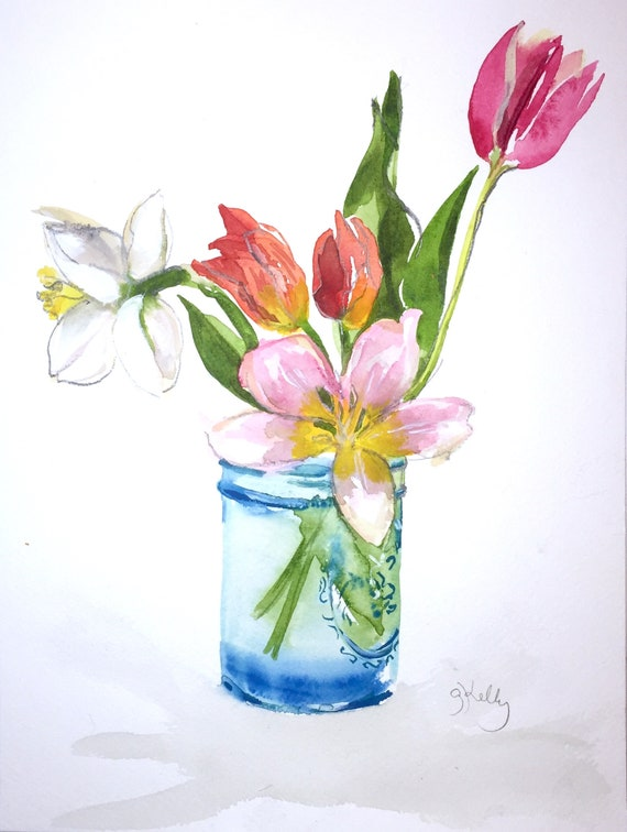 Watercolor flower painting-Bouquet in turquoise jar- original by Gretchen Kelly