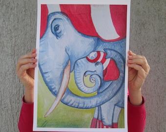 A3 & A4 printsCaptain Elephant - Parent and child