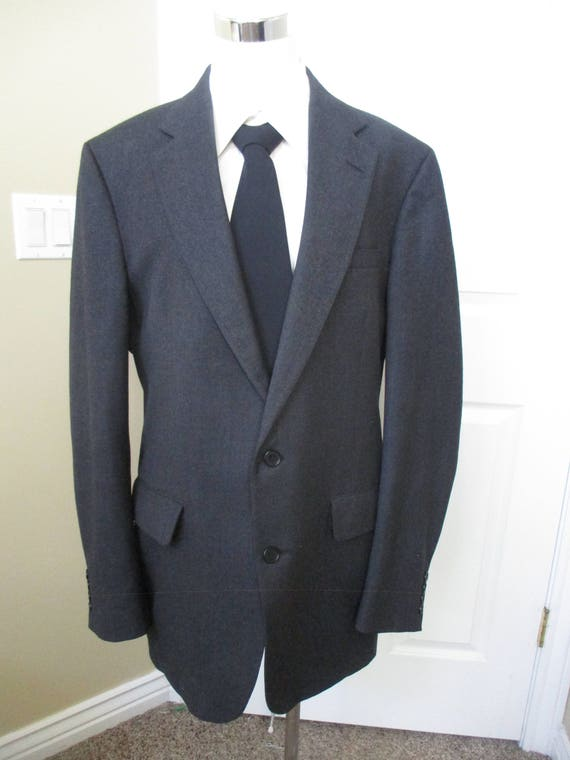 Vintage 1960's Hillary Morton Charcoal Grey Wool Sport Coat - Size 44