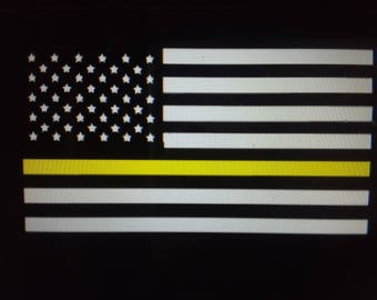 911 Dispatcher gold line flag decal, police blue line decal,fire red line decal