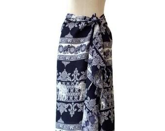 Sarong Hippie Beachwear Cover up Wrap Pareo Swimsuit Swim Wear Cover Up Fringes Summer Spring Large Scarf Shawl Women Elephant Dark Blue