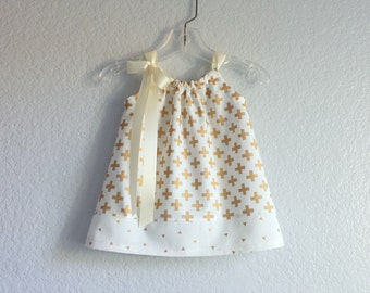 Baby Girls Ivory and Gold Dress and Bloomers Outfit - Metallic Gold Crosses on Ivory - Baby Girl Sun Dress - Size Nb, 3m, 6m, 9m, 12m or 18m