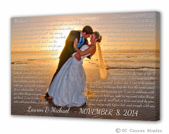 Wedding First Dance Song Lyrics - Photo on Canvas - Song Lyrics Art - 1st Anniversary Gift - Canvas Print - Anniversary Gift