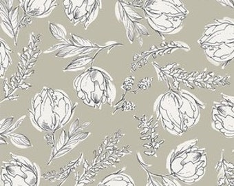 Gathered by Bonnie Christine Unruly Terrace in Shade - Art Gallery Fabrics taupe and white large floral print fabric