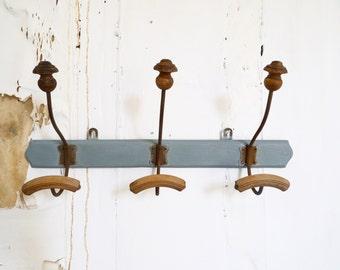 French Vintage Wooden coat Rack Industrial retro