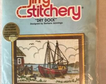 Crewel Kit, DRY DOCK, By: jiffy stitchery, Sunset Designs