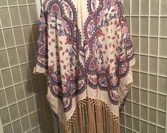Vintage Floral Poncho Kimono Style with Intricate Fringe 1990s One Size
