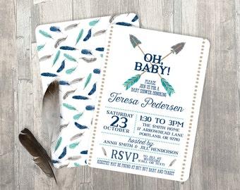 Boy Baby Shower Invitation - Arrow Baby Shower Invitation - Feathers Invitation - Tribal - Boho