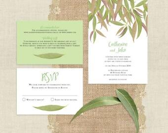 gum leaf printable wedding invitation suite leaves eucalyptus green outdoor nature trees forest bush rustic rsvp insert set Australian diy