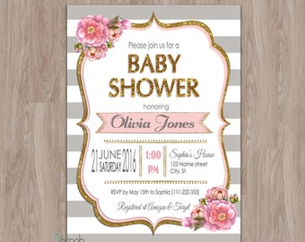 pink and grey baby shower invitation, baby shower invitation girl, grey, pink and gold, floral, stripes, gold glitter, printable, baby girl