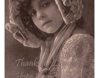 Large Portrait Photo Postcard of GRETE REINWALD in Lace and a Beautiful Flowered & Beribboned Bonnet - Sepia Tint  RPPC - Dated 1912