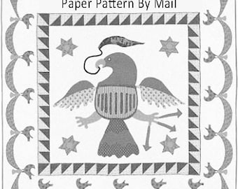 Warrior Eagle: Historic Applique Quilt Pattern. Paper Pattern by Mail. Reproduction Quilt. Civil War Era Patchwork from Barbara Brackman