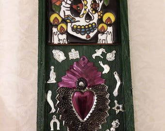 Catrina, Sacred Heart, Milagros, Nicho, Ofrenda, Altar, Mexican folkart