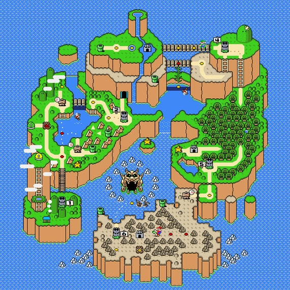 Super mario world dinosaur land map poster gumiabroncs Image collections
