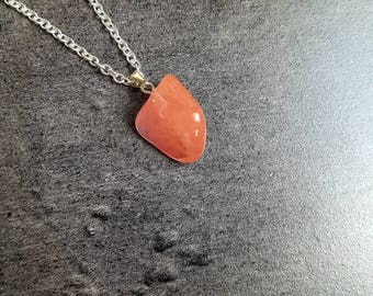 Nickel free silver chain and carnelian gemstone necklace
