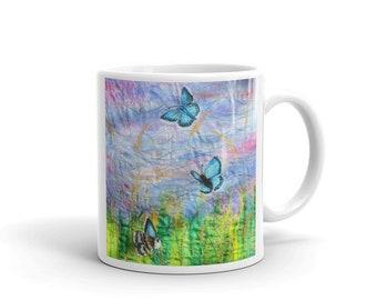 Butterfly and wildflowers Mug - nature lover gift - pretty mug - butterflies - flower mug