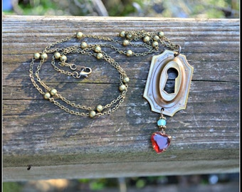 Architectural Salvage Necklace antique brass keyhole necklace