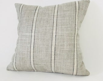 P Kaufman Pillow Cover, Stripe Pillow Cover, Gray Stripe Pillow Cover, Grain Sack Stripe Pillow Cover, Designer Pilow Cover