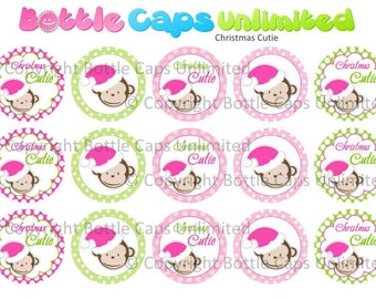 "15 Christmas Cutie Monkey Download for 1"" Bottle Caps (4x6)"