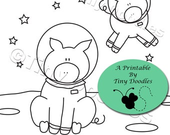 Pigs Space Coloring Pages Animal Page Printables Kids PDF Colouring Color PagesPDF Sheets Cute