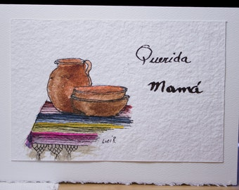 """Hand Painted Greeting Card, Mother's Day Card, Original, Watercolor Card,""""Querida Mamá"""", Blank Card, Free Shipping"""